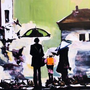 Adam-Grosowsky-Pigeons-Umbrellas-Karin-Clarke-Gallery-300x292